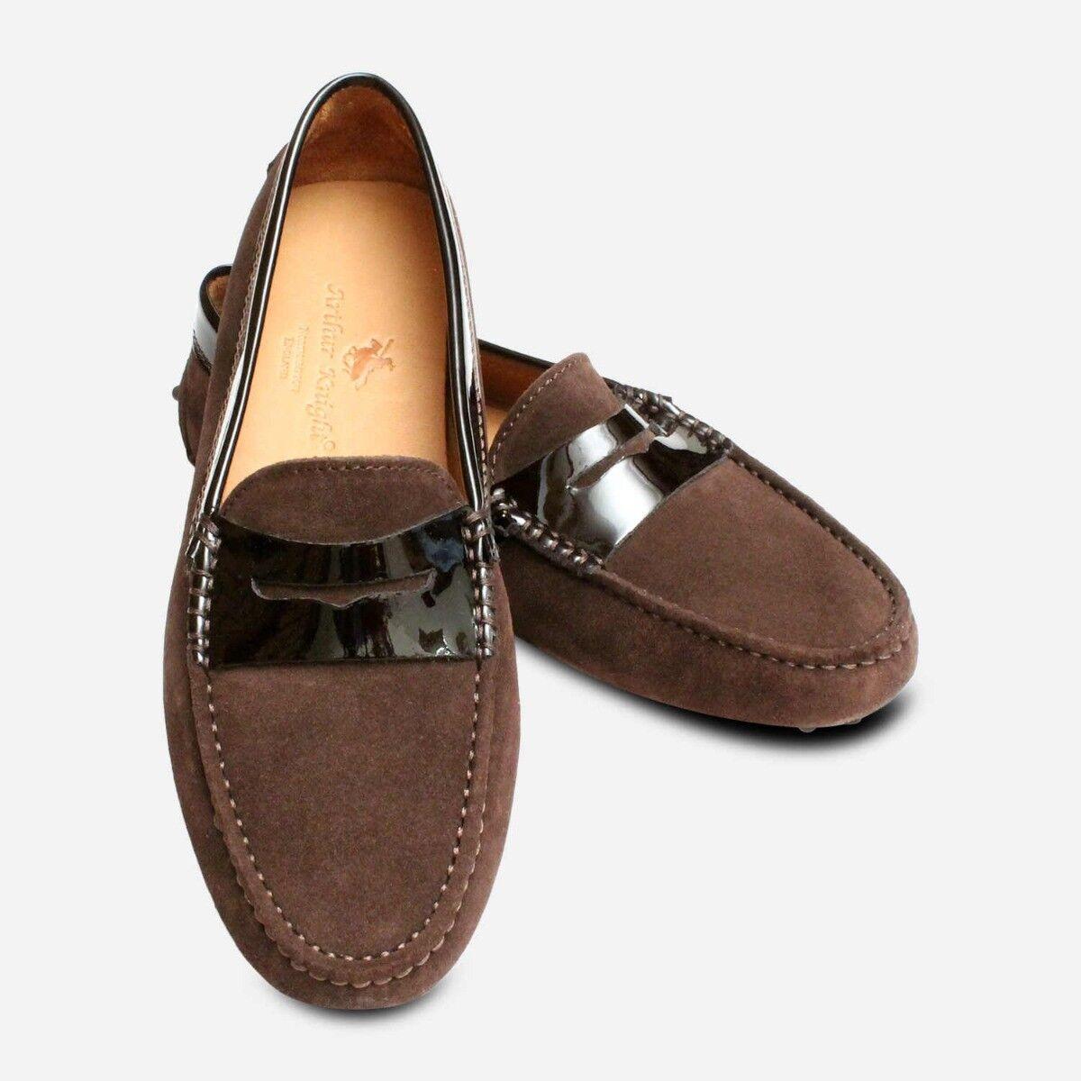 Dark Brown Suede Ladies Driving shoes Moccasin