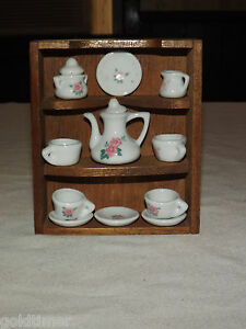 VINTAGE MINI CHINA CABINET WITH TEAPOT DISHES CUPS | eBay