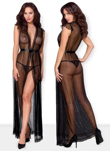 OBSESSIVE 876 Luxe Décoratif Sheer Blouse//chemise de nuit et correspondants String Lot