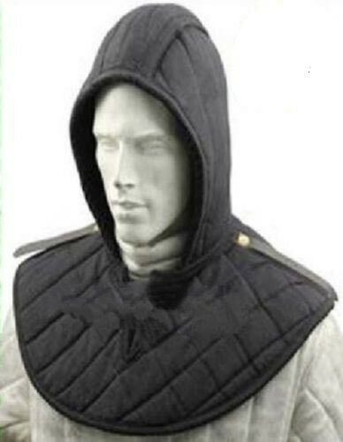 Padded Arming Cap Collar Head Neck Cotton Black SCA