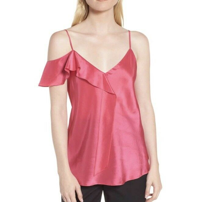 NWT Lewit Rosa rot Ruffle Silk Camisole Large Retail