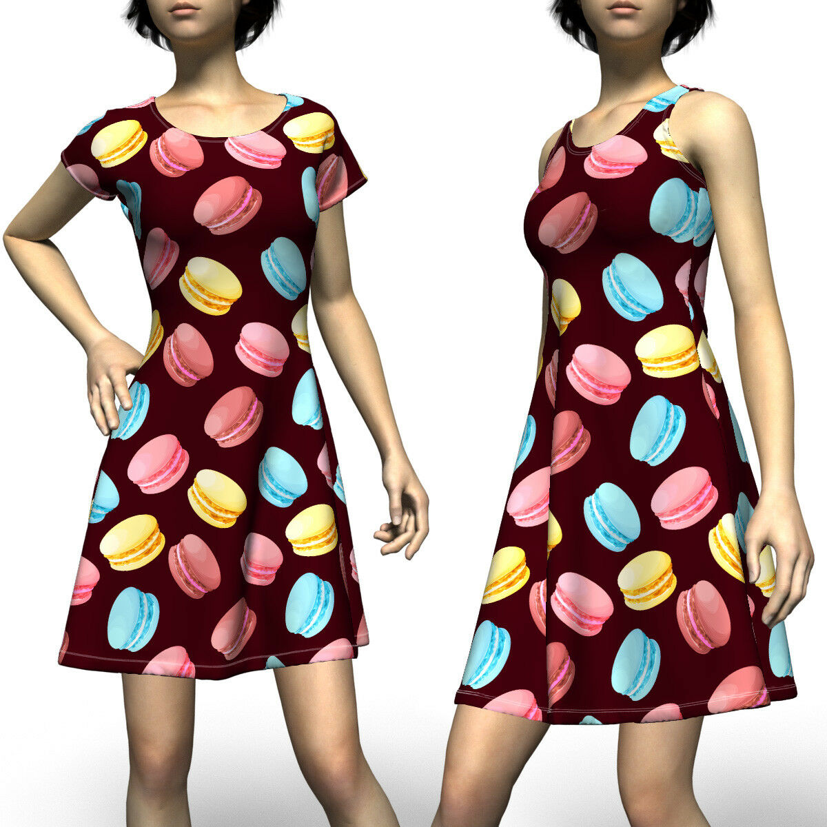 Cute colorful Macaroon Sleeveless & Short Sleeve Dress Size XS-5XL Plus
