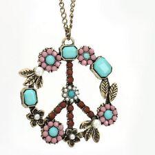 PEACE lange Kette VINTAGE Blumen Halskette necklace PAIX vrede ketting Hippie
