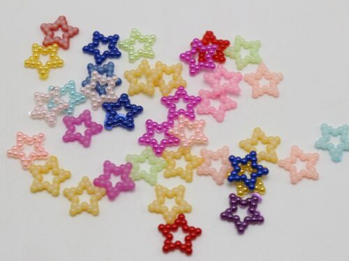 200 Mixed Color Acrylic Pearl Dotted Star Beads 12mm Scrapbook Craft