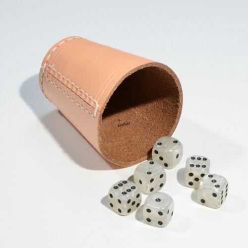 Spiele Frobis 5 Würfelbecher Knobelbecher Natur Leder mit 30 Würfel aussuchen