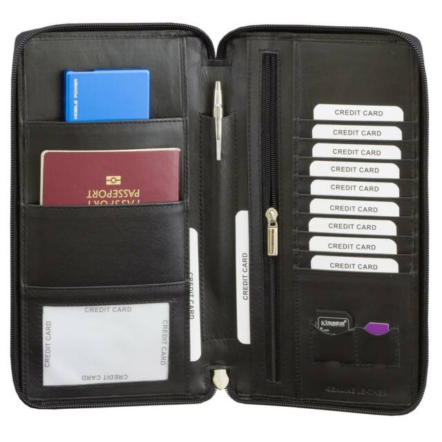 defd12619 RFID Blocking Travel Leather Document Organiser Holiday Wallet ...