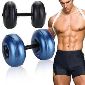 Peso-llena-de-agua-MANCUERNAS-BARBELL-8-25kg-Interior-Gimnasio-Fitness-Ejercicio-Entrenamiento