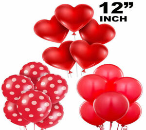 10-034-inch-Red-Heart-ROUND-POLKA-Balloons-Valentines-Special-Decorations-baloons