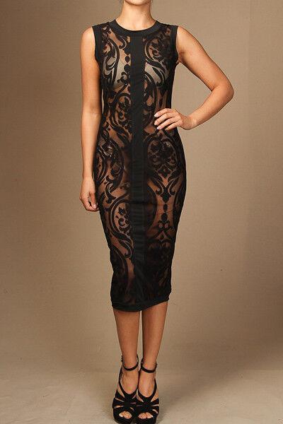 Sleeveless All Mesh with Baroque Detail Bodycon Midi Dress (S, M, L)