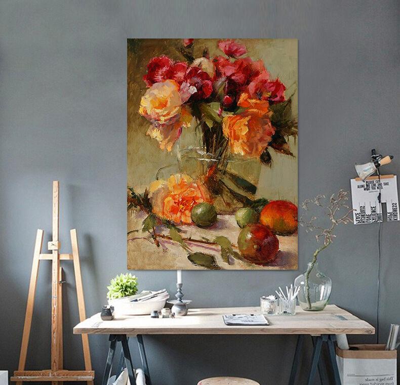 3D Grn Orange Blaumen Vase 858 Fototapeten Wandbild BildTapete AJSTORE DE Lemon