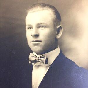 Antique Photo Handsome Young Man 1920s Mens Fashion ID Glenn Wright Colorado