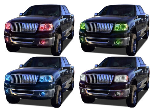 LED Headlight Fog Halo Ring RGB Multi-Color Kit for Lincoln Mark LT 06-08