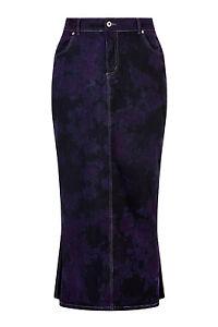 Clove-Long-Purple-amp-Blue-Tie-Dye-Denim-Maxi-Pencil-Skirt-Plus-Size-12-24