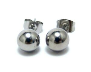 Ball Stud Earrings Stainless Surgical Steel Hypoallergenic 7 mm