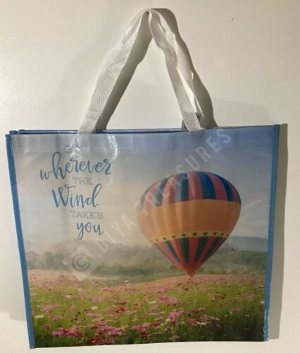 Reusable Shopping Bag Wherever the Wind takes You Large Eco Tote Hot Air Baloon