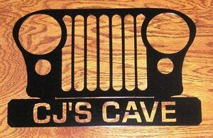 JEEP-CJ-CJ7-034-YOUR-TEXT-034-Personalized-12-034-Grill-Metal-Art-Man-Cave-Decor