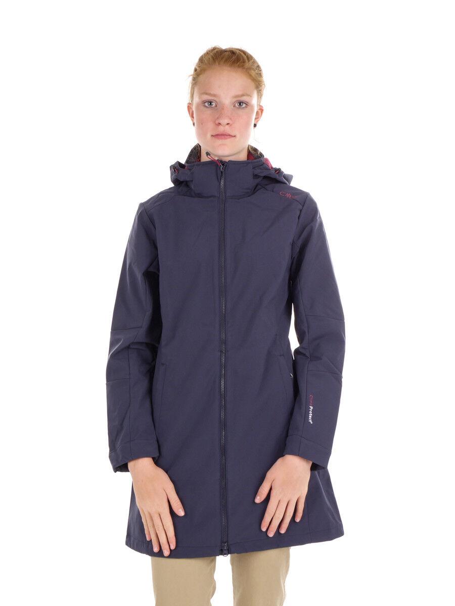 CMP Softshellmantel Giacca women Cappotto con Zip Hood blue Scuro