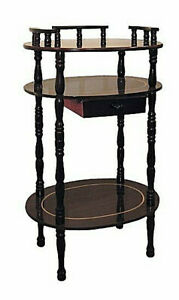 Brown-cherry-tone-3-tier-Wood-Phone-Table-Plant-stand-with-drawer