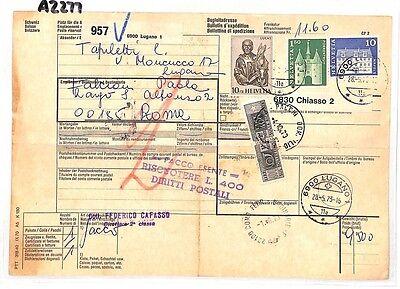 Az277 1973 Switzerland High Values Lugano *insured Mail* Card Italy Pts