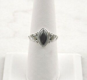 Sterling-Silver-2-ct-Marquise-Black-Onyx-Ring-Free-Gift-Packaging