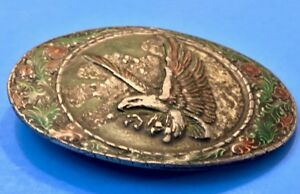 Vintage-1982-Eagle-Head-Belt-Buckle-Indiana-Metal-Craft-Western-Patriotic-Gift
