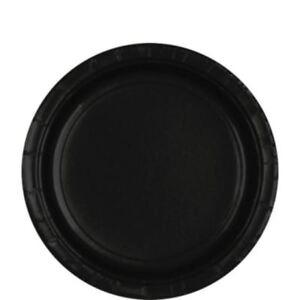 Pack-8-Negro-Azabache-Platos-de-Papel-22-8cm-Boda-Cumpleanos-Vajilla-Fiesta