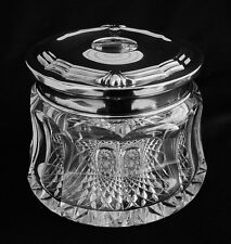 LARGE ANTIQUE BEAUTIFUL CUT GLASS & STERLING HAIR RECEIVER INTERNATIONAL SILVER
