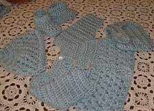Handmade Crochet Baby Boy Sweater,Hat, Diaper Cover Bootie Set  Newborn 6 Months