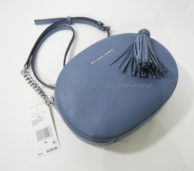 d5dc009b64fb Michael Kors Ginny Medium Leather Messenger Shoulder/Crossbody Bag in Denim  Blue