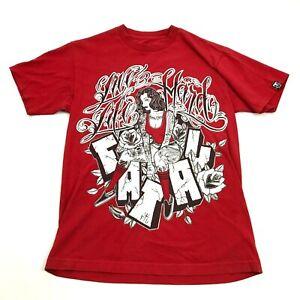 Fatal-Live-Life-Rigido-con-Scritta-Camicia-Taglia-M-Grafico-Tee-Rosso-Larga-Fit