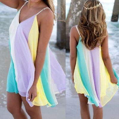 Boho Women Chiffon Rainbow Summer Beach Casual Vest Top Skirt Dress Size 8-14