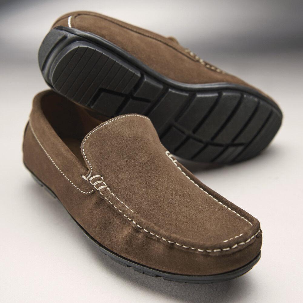 Samuel Windsor Mens Moccasin shoes Slip On Anti Slip Sole Brown UK Sizes 5-14 NEW