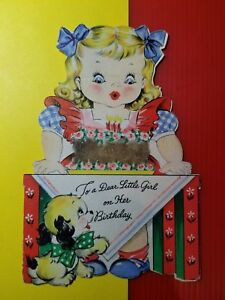 Superb Vintage 1930 50S Happy Birthday Card Little Girl Dog With Personalised Birthday Cards Paralily Jamesorg