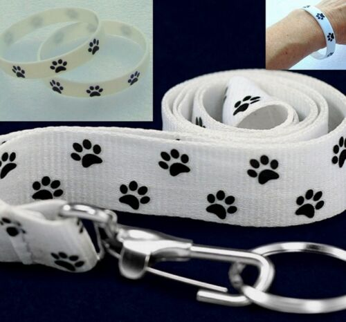 Dog Cat Paw Print Bracelet /& Lanyard ID Badge Key Chain Ring White Gift Set