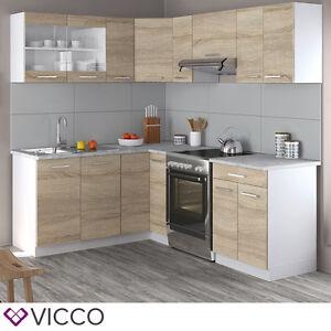 Details zu Vicco Küche Rick L-Form Küchenzeile Küchenblock Einbauküche 210  cm Sonoma