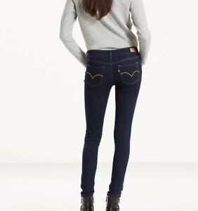 Details zu Women's Levis 535 Super Skinny Super Stretch Legging Jegging Jeans Black Blue LC