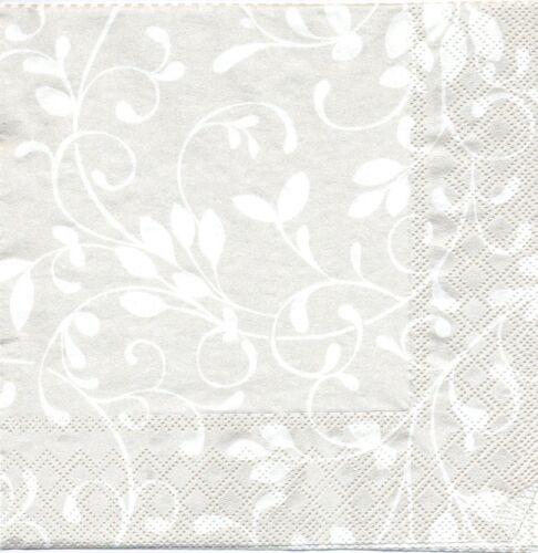 2 Serviettes papier Décor fleuri Fleur et rayures Decoupage Paper Napkins Flower