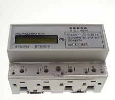 10A to 100A DIN Rail 230/400VAC 50hz 3 Phase Watt-hour KWH Energy Meter
