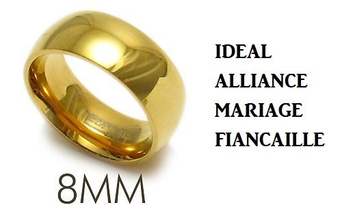 ALLIANCE RING MARRIAGE OF ENGAGEMENT MAN WOMAN TEENAGER NEW GOLD PLATED 8mm