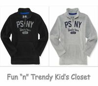 Ps Aeropostale Kids Boys Size 8 Or 10 1/4-zip Fleece Popover Top Black Grey