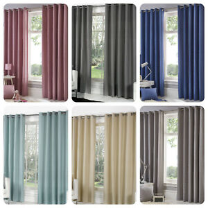 Fusion-SORBONNE-Eyelet-Top-Curtains-Living-Room-Bedroom-Lined-Ready-Made-Pair