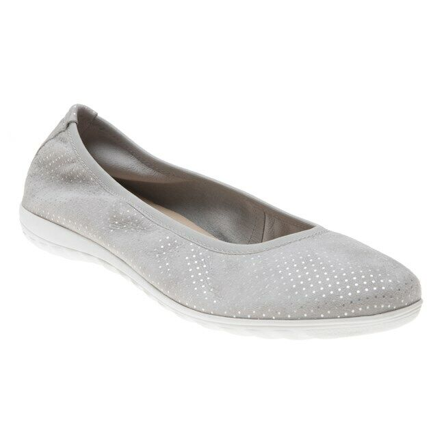 New Womens Caprice Grey 22142 Suede shoes Ballerina Slip On