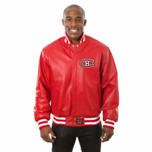 7ee82305 Details about NHL Montreal Canadiens JH Design Leather Jacket with Leather  logos Red Colour
