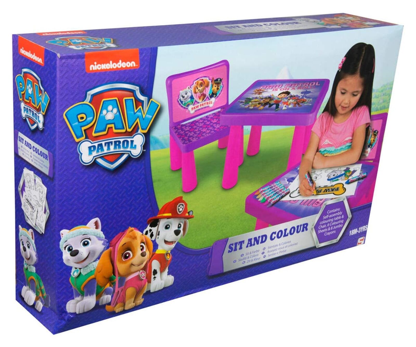 Sambro PWP9-Y17-4144-1 Paw Patrol Girls Sit and Colour Table and Chair Set, M...