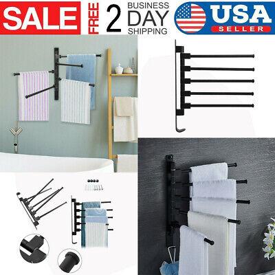 Swivel Towel Holder 5-Arm Swing Bar Wall Mount Rack Towel Hanger For Bathroom US