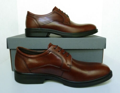 New Men`s ECCO Lisbon Plain Toe Lace Oxford Shoes Leather