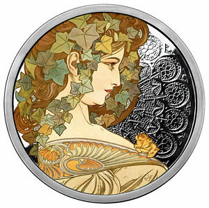 Alphonse Mucha 1 0z .999 silver coin Colorized IVY #5 in Art series limited COA