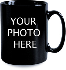 Black Coffee mug 11oz custom photo name text logo personalized gift new Ceramic
