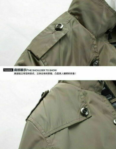 Veste homme fashion hiver chaud Casual Manteau Pardessus Outwear Trench Militaire Zip