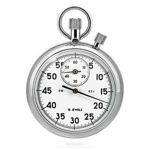 Analog-Stoppuhr-mechanisch-034-Weiss-034-2-Kronen-Additionsstopper-aus-Russland